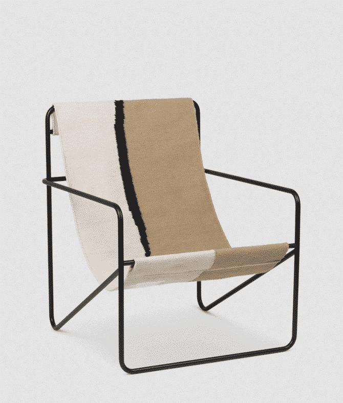 fermliving desert lounge chair black soil